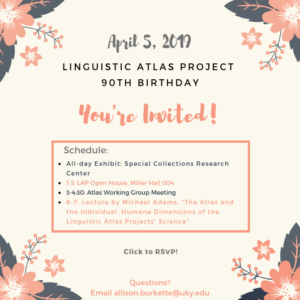 Linguistic Atlas Project 90th Birthday Party Invitation
